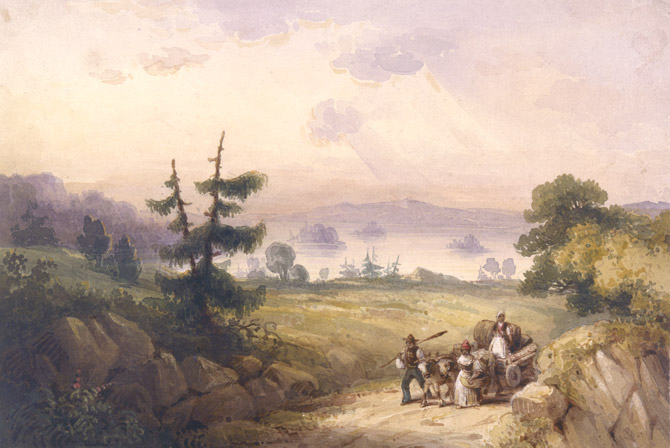 """Bedford Basin near Halifax (Nova Scotia)"" 1835 by Robert Petley. African refugee family taking their wares to market."